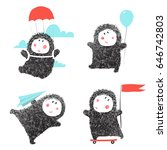 collection of baby character... | Shutterstock .eps vector #646742803