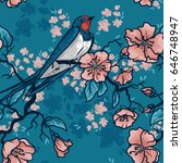 seamless pattern with swallow... | Shutterstock .eps vector #646748947