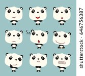 set funny panda bear in... | Shutterstock .eps vector #646756387