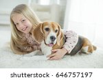 child with dog  | Shutterstock . vector #646757197