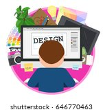 workplace of designer with the... | Shutterstock .eps vector #646770463