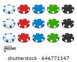 poker chips isolated on white... | Shutterstock .eps vector #646771147