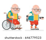 wheelchair grandfather active... | Shutterstock .eps vector #646779523