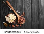 composition with cocoa butter... | Shutterstock . vector #646796623