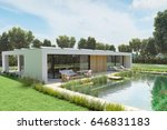 3d rendering. house with an... | Shutterstock . vector #646831183