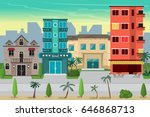 street resort beach town with... | Shutterstock .eps vector #646868713