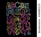 alphabet poster  dry brush ink... | Shutterstock .eps vector #646880113