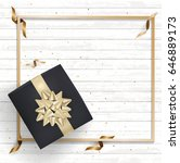 black gift box and gold bow... | Shutterstock .eps vector #646889173