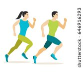 jogging man and woman  flat... | Shutterstock .eps vector #646916293