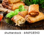spring rolls with chicken and... | Shutterstock . vector #646918543