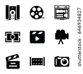 cinema icons set. set of 9... | Shutterstock .eps vector #646934827