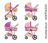 four baby girl carriage on... | Shutterstock .eps vector #646956343