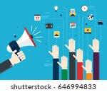 hands holding a megaphones and... | Shutterstock .eps vector #646994833