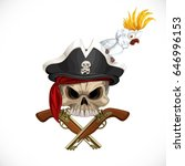 jolly roger in pirat hat with... | Shutterstock .eps vector #646996153