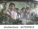 happy family travelling in car   | Shutterstock . vector #647059813