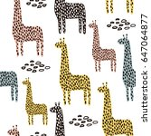 seamless pattern with giraffe.... | Shutterstock .eps vector #647064877