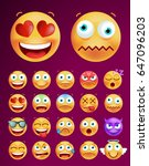 set of cute icons on black... | Shutterstock .eps vector #647096203