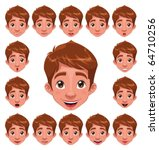 Boy Expressions with lip sync. Funny cartoon and vector character. - stock vector