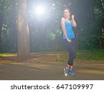 young sporty blonde girl posing ... | Shutterstock . vector #647109997