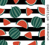 watermelon seamless pattern... | Shutterstock .eps vector #647111443