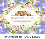 romantic invitation. wedding ... | Shutterstock . vector #647112607