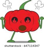 angry pumpkin man | Shutterstock .eps vector #647114347