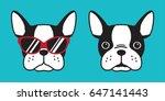 Stock vector french bulldog dog head dog face illustration 647141443