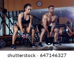 fitness couple exercising with... | Shutterstock . vector #647146327