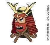 samurai mask helmet warrior...   Shutterstock .eps vector #647204803