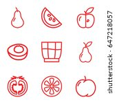 fruit icons set. set of 9 fruit ... | Shutterstock .eps vector #647218057