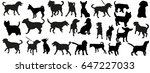a collection of dog silhouettes | Shutterstock . vector #647227033