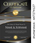 certificate or diploma template  | Shutterstock .eps vector #647274127