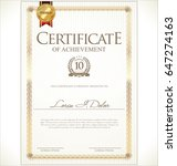 certificate or diploma template  | Shutterstock .eps vector #647274163