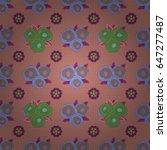 vector flower seamless pattern... | Shutterstock .eps vector #647277487