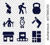 grey icons set. set of 9 grey... | Shutterstock .eps vector #647300143