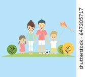 happy family walking in park... | Shutterstock .eps vector #647305717
