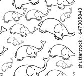 elephant seamless messy pattern ... | Shutterstock .eps vector #647305843