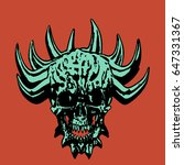 green demonic skull with corona ...   Shutterstock .eps vector #647331367