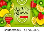 hello summer. tasty season.... | Shutterstock .eps vector #647338873