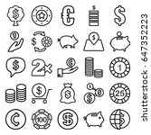 coin icons set. set of 25 coin... | Shutterstock .eps vector #647352223