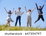 japanese young   group outdoor... | Shutterstock . vector #647354797