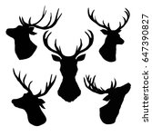 deer silhouette  vector ... | Shutterstock .eps vector #647390827