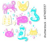 fashion set with cats  stars...   Shutterstock .eps vector #647405557