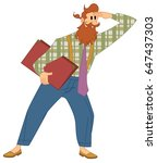 hipster man looking forward... | Shutterstock .eps vector #647437303