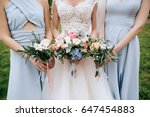 bride and bridesmaid holding in ... | Shutterstock . vector #647454883