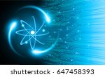 dark blue shining atom scheme.... | Shutterstock .eps vector #647458393
