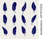 feather sketch icons set on... | Shutterstock .eps vector #647472223