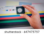 worker in a printing and press... | Shutterstock . vector #647475757