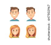 portraits of boy and girl with... | Shutterstock .eps vector #647502967