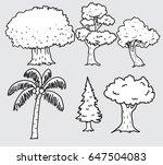 tree drawn vector set